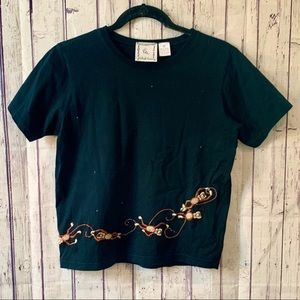 Vintage Embroidered & Beaded Monkey Blouse
